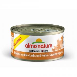ALMO NATURE Classic salmone e pollo umido gatto gr. 70 - Mangimi umidi per gatti