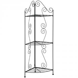 VERDEMAX Scaffale ricciolo angolo nero tre ripiani - Arredo interno etagere