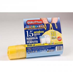 QUALITY SAC Sacco per raccolta differenziata con maniglie giallo 30lt