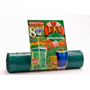 QUALITY SAC Sacco super spessore con maniglie verde 140lt - Pulizia casa