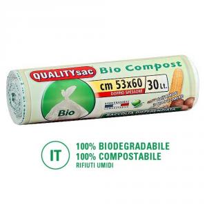 Set 30 QUALITY SAC  Sacchetti biodegradabili per compostaggio 30lt - Pulizia casa