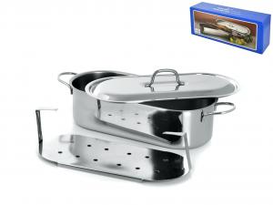 GIERRE Pescera inox con coperchio grande cm40 Pentole e preparazione cucina