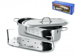 GIERRE Pescera inox con coperchio grande cm50 Pentole e preparazione cucina