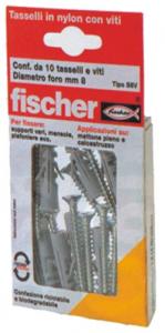 Set 10 Tassello FISCHER Con Vite S 10 Vk 4+4 Ferramenta