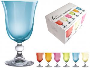 H&H Confezione 6 Calici In Vetro Mediterraneo Acqua Cl22 Bicchieri Arredo Tavola