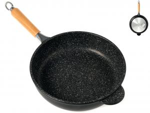 ANTIK ARS Padella alta antiaderente pietra manico in legno cm28 Pentole Cucina
