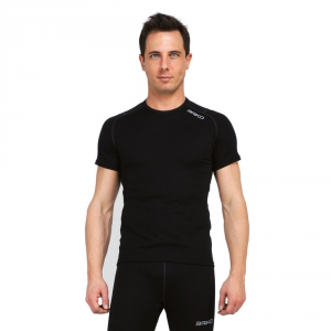 BRIKO T-shirt traspirante invernale maniche corte uomo COREWARM nero 100052