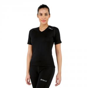 BRIKO T-shirt traspirante invernale maniche corte donna CORELIGHT nero 100064