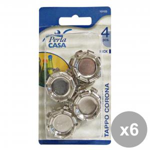Set 6 Tappo Corona Inox Pezzi 4 10103 Accessori per la casa