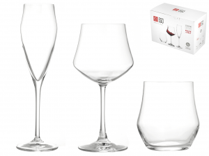 RCR Set 18 Pezzi Vetro Ego (6 Bicchieri 12 Calici) Arredo Tavola