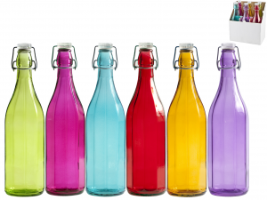 HOME Set 6 Bottiglia Vetro Coste Colori Assortiti Lt1 Tappo Meccanico