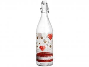 HOME Bottiglia vetro decorazione cuoricini lt1 Brocche e bottiglie