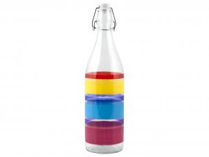 HOME Set 6 Bottiglie Vetro 1 Lt Decoro Tremiti Prodotto Made In Italy