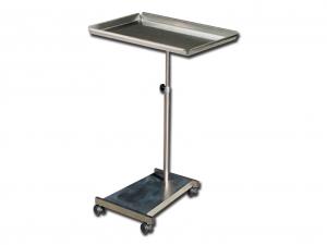 Tavolino per ospedale con piantana e vassoio rimovibile in acciaio inox