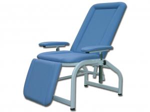 Poltrona donatori sangue in poliuretano blu con struttura metallica e braccioli