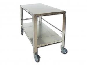Tavolo da sala operatoria in acciaio inox AISI 304 su due piani cm. 120x65x95h