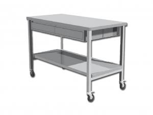 Tavolino da lavoro acciaio inox con due cassetti e quattro ruote cm. 120x70x95h