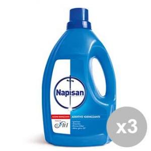 NAPISAN Set 3 Detersivi lavatrice ml. 3600 liquido disinfettante antiodore per il bucato