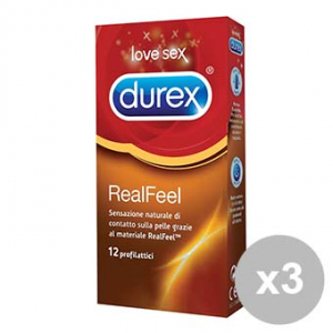 DUREX Set 3 REAL FEEL 12 profilattici ipoallergenici Condom Preservativi contatto pelle