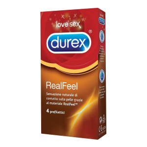 DUREX REAL FEEL x4 Condom Preservativi Ipoallergenici Profilattici