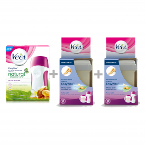 VEET Ceretta Easy Wax Kit Natural Tiarè Argan Oil +2 Ricarica Roll-on Pelli sensibili