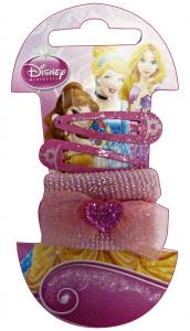 GABBIANO Clic-Clac + Elastici Disney Princess Mini 6 Pezzi (36065) Accessorio Per Capelli