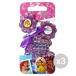 Set 3 GABBIANO Collana + Clic Clac Disney Princess 36670 (36066) Accessorio Per Capelli