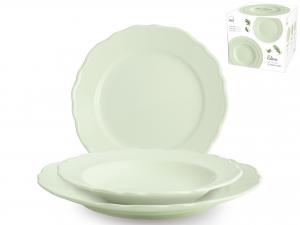 H&H Servizio Tavola 18 Pezzi Ceramica Elisa Verde Arredo Tavola