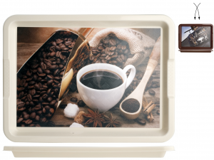 DEM Vassoio Polipropilene Decoro Bar&Caffè Cm35X26 Arredo Tavola Tessili
