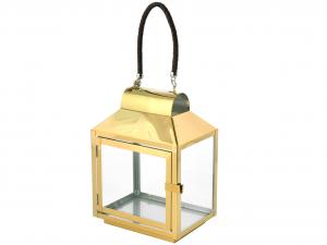 H&H Lanterna Inox Manico Cuoio Oro 20X14Xh28 Luci E Decorazioni Casa