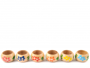 CAPER Confezione 6 legatovaglioli in legno decorato Utensili da cucina
