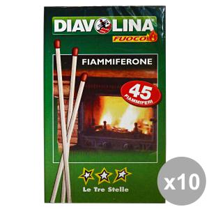 Set 10 DIAVOLINA Fiammiferone LE TRE STELLE * 45 Pezzi Barbecue & pic-nic