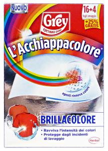 GREY Acchiappacolore Brillacolore 16+4 Fogli Prodotto Lavatrice