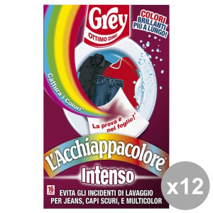 Set 12 GREY AcchiappaColore INTENSO X 16 Fogli Detergenti casa