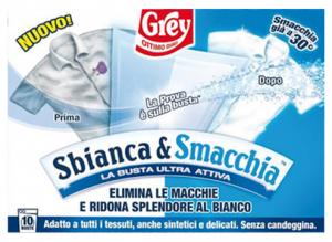 GREY SBIANCA&Smacchiatore IA * 10 Bustine Detergenti Casa