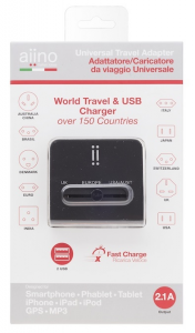 AIINO Travel adattatore 2 USB 2.1A - Nero