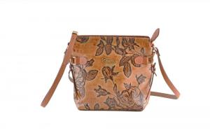 CUOIERIA FIORENTINA Tracolla In Vitello stampato borsa donna pelle Beige miele