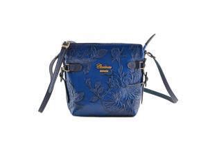 CUOIERIA FIORENTINA Tracolla In Vitello stampato borsa donna pelle Blu B.1875