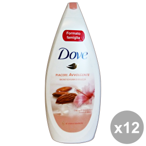 DOVE Set 12  Bagno Mandorla-Fiori D'Ibisco 700 Ml. Saponi E Cosmetici