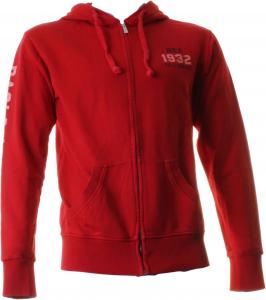 BACI & ABBRACCI Felpa full zip e cappuccio uomo 100% cotone rosso BAM910-ROSSO