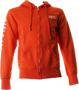 BACI & ABBRACCI Felpa full zip e cappuccio uomo 100% cotone arancione BAM910-AR