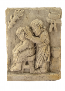 'Bassorilievo quadro ''Mestiere antico barbiere'' marmo artigianato italiano BI-44-tr'