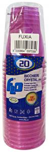Bicchieri 20 pz. fuxia crystal 250cc - Articoli per pic-nic