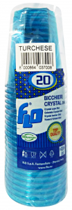 Bicchieri 20 pz. turchese crystal 250cc - Articoli per pic-nic