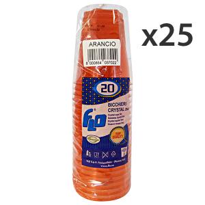 Set 25 Bicchieri 20 Pezzi ARANCIO CRYSTAL 250CC Bicchieri