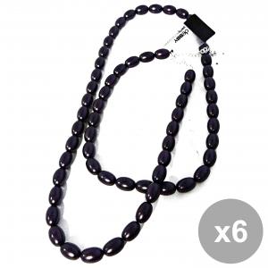 Set 6 DEBBY Collana Perle Ovali Viola Cura del corpo