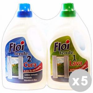 FLOI Set 5 FLOI Detersivo bucato tende duetto lava+cura 1+1 lt.