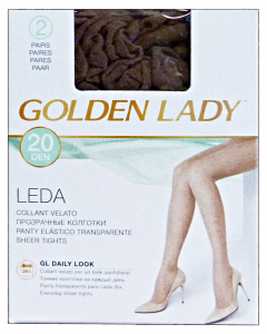 GOLDEN LADY Leda Collant 20 den marrone castoro taglia II * 2 paia 22a