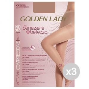 Set 3 GOLDEN LADY Benessere & Bellezza Collant 140 Den Dore'Taglia Iv G115 Calze Da Donna
