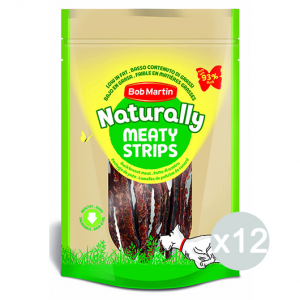 Set 12 BOB MARTIN Ossi Naturally Meaty Strisce D'Anatra 70Gr D0461 Snack E Treat Per Cane